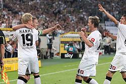 19.08.2011,  BorussiaPark, Mönchengladbach, GER, 1.FBL, Borussia Mönchengladbach vs Vfl Wolfsburg, im Bild.Torjubel / Jubel  nach dem 2:1 durch Filip Daems (Mönchengladbach #3) (2L) mit Mike Hanke (Mönchengladbach #19) (L) und Thorben Marx (Mönchengladbach #14) (R)..// during the 1.FBL, Borussia Mönchengladbach vs Vfl Wolfsburg on 2011/08/19, BorussiaPark, Mönchengladbach, Germany. EXPA Pictures © 2011, PhotoCredit: EXPA/ nph/  Mueller *** Local Caption ***            ****** out of GER / CRO  / BEL ******