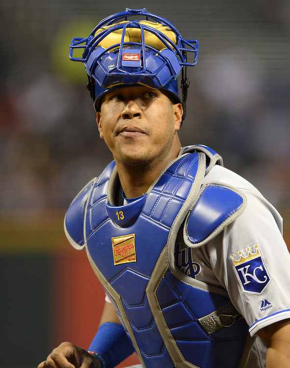 CHICAGO - APRIL 25:  Salvador Perez #13 of the Kansas City Royals looks on against the Chicago White Sox on April 25, 2017 at Guaranteed Rate Field in Chicago, Illinois.  The White Sox defeated the Royals 10-5.  (Photo by Ron Vesely)   Subject:  Salvador Perez
