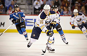 SHOT 3/28/15 7:26:12 PM - The Buffalo Sabres' Rasmus Ristolainen #55 plays against the Colorado Avalanche in their regular season NHL game at the Pepsi Center in Denver, Co. The Avalanche won the game 5-3. (Photo by Marc Piscotty / © 2015)