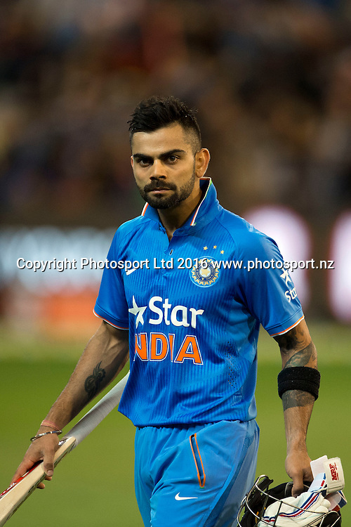 Indian player Virat Kohli seen during the Twenty20 match between Australia and India at the MCG in Melbourne, Australia. Friday 29 January 2016. Copyright photo: Raghavan Venugopal / www.photosport.nz