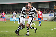 Forest Green Rovers Christian Doidge(9) celebrates his goal with Forest Green Rovers Dale Bennett(6) during the Vanarama National League match between Dagenham and Redbridge and Forest Green Rovers at the London Borough of Barking and Dagenham Stadium, London, England on 11 March 2017. Photo by Shane Healey.