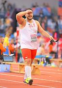 Mar 5, 2017; Belgrade, Serbia; Konrad Bukowiecki (POL) celebrates after winning the shot put in a national record  72-1 (21.97m) during the 34th European Indoor Championships at Kombank Arena. (Jiro Mochizuki/Image of Sport)