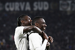 March 8, 2019 - Turin, Italy - Juventus midfielder Blaise Matuidi (14) celebrates with Juventus forward Moise Kean (18) after scoring his goal during the Serie A football match n.27 JUVENTUS - UDINESE on 08/03/2019 at the Allianz Stadium in Turin, Italy. (Credit Image: © Matteo Bottanelli/NurPhoto via ZUMA Press)