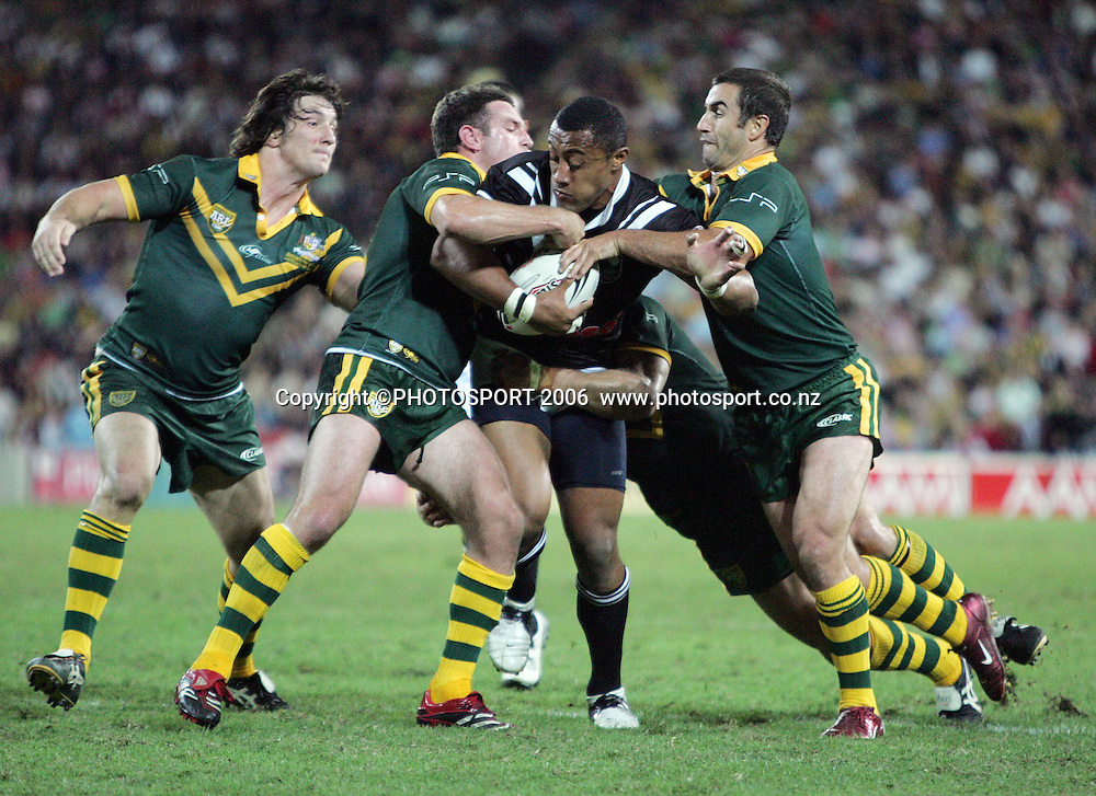 Roy Asotasi in action during the Rugby League test match between the New Zealand Kiwis and the Australian Kangaroos at Suncorp Stadium, Brisbane, Australia on Friday 5 May, 2006. Australia won the match 50 - 12. Photo: Hannah Johnston/PHOTOSPORT<br />
