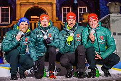 March 16, 2019 - –Stersund, Sweden - 190316 Erik Lesser, Roman Rees, Arnd Peiffer and Benedikt Doll of Germany, celebrate during the medal ceremony for the Men's 4x7,5 km Relay during the IBU World Championships Biathlon on March 16, 2019 in Östersund..Photo: Petter Arvidson / BILDBYRÃ…N / kod PA / 92270 (Credit Image: © Petter Arvidson/Bildbyran via ZUMA Press)