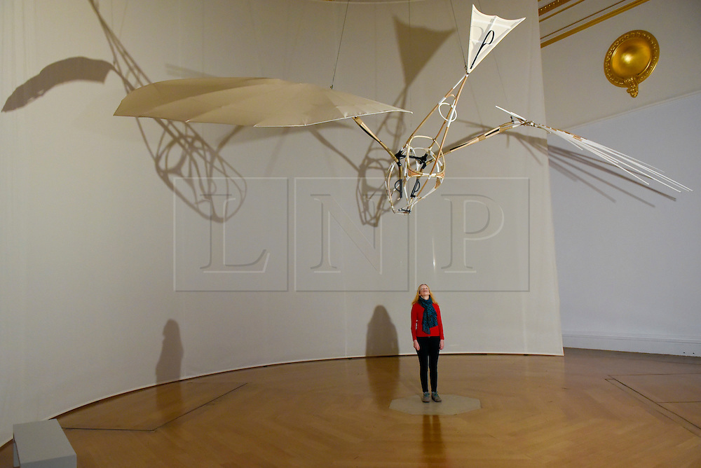 "© Licensed to London News Pictures. 07/02/2017. London, UK. A staff member looks at a rotating glider called ""Letatlin"" by Vladmir Tatlin at the preview of an exhibition entitled ""Revolution Russian Art 1917-1932"", which marks the centenary of the Russian Revolution.  The exhibition runs from 11 February to 17 April 2017 at the Royal Academy of Arts in Piccadilly. Photo credit : Stephen Chung/LNP"