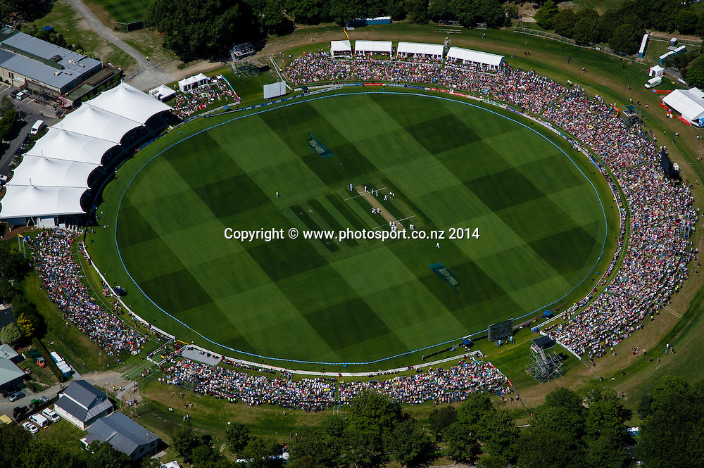 General view of Hadley park, in the 1st day of the cricket test match, NZ v Sri Lanka, Hagley Oval, 26 December 2014. Photo:John Davidson/www.photosport.co.nz