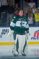 KELOWNA, CANADA - SEPTEMBER 29: Carter Hart #70 of the Everett Silvertips stands on the ice during the national anthem against the Kelowna Rockets on September 29, 2017 at Prospera Place in Kelowna, British Columbia, Canada.  (Photo by Marissa Baecker/Shoot the Breeze)  *** Local Caption ***