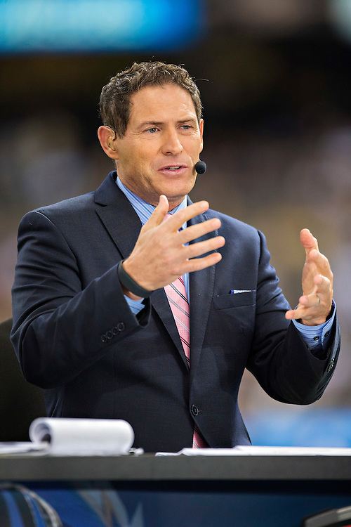 NEW ORLEANS, LA - NOVEMBER 24:  Steve Young of ESPN Monday Night Football before a game between the Baltimore Ravens and the New Orleans Saints at Mercedes-Benz Superdome on November 24, 2014 in New Orleans, Louisiana.  The Ravens defeated the Saints 34-27.  (Photo by Wesley Hitt/Getty Images) *** Local Caption *** Steve Young
