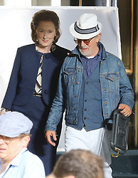 "Meryl Streep is pictured filming Steven Spielberg's 1970s period drama ""The Papers"" outside the Plaza Hotel in Midtown Manhattan. 18 Jul 2017 Pictured: Meryl Streep and Steven Spielberg. Photo credit: LRNYC / MEGA TheMegaAgency.com +1 888 505 6342"