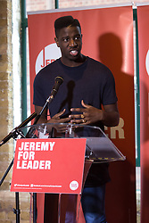 © Licensed to London News Pictures. 01/09/2015. London, UK. Singer, Jermain Jackman speaking in support for Jeremy Corbyn at the Arcola Theatre in Dalston, east London this evening, where Corbyn launched his Vision for the future of the arts. Photo credit : Vickie Flores/LNP
