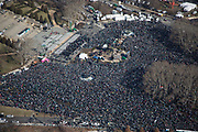 A Sea of people jam in front of the Philadelphia Museum of Art during the Philadelphia Eagles NFL football team Super Bowl victory parade Thursday, Feb. 8, 2018, in Philadelphia. The Eagles beat the New England Patriots 41-33 in Super Bowl 52.