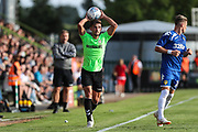 Forest Green Rovers Liam Shephard(2) takes a throw in during the Pre-Season Friendly match between Forest Green Rovers and Leeds United at the New Lawn, Forest Green, United Kingdom on 17 July 2018. Picture by Shane Healey.