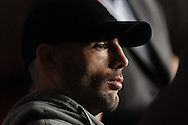 MANCHESTER, ENGLAND, NOVEMBER 12, 2009: Mike Swick listens to a question fielded by a member of the press during the pre-fight press conference for UFC 105 at the MEN Arena in Manchester, England on November 12, 2009.