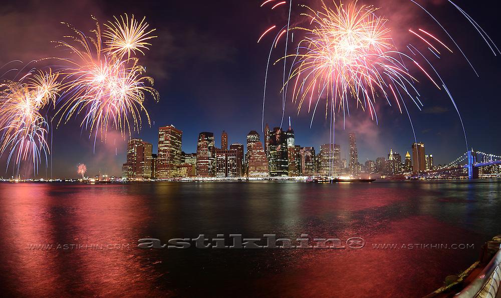 Firework in New York City on East River, 2014.