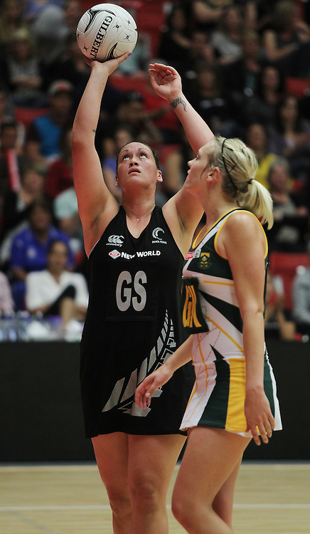 Silver Fern's Cathrine Latu and South Africa's Vanes-mari Du Toit during the 2012 New World Quad Series. Silver Ferns v South Africa at Tect Arena, Tauranga, New Zealand on Sunday 28 October 2012. Photo: Mark McKeown / photosport.co.nz