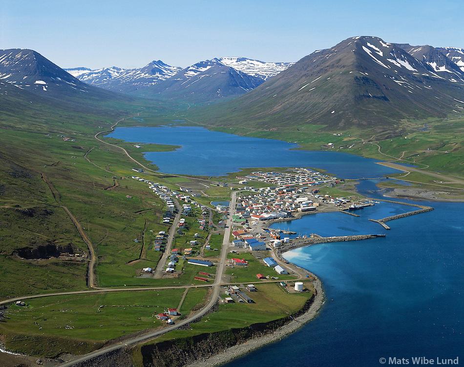 Ólafsfjörður loftmynd, Brímnes fremst á sjávarbakkanum.Olafsfjordur aerial, Brimnes in front.