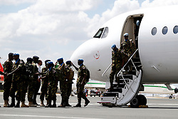 The first 100 batch of Kenya Defense Forces troops from the U.N. peacekeeping mission in South Sudan arrive at JKIA on November 9, 2016. The President ordered them to withdraw in response to the sacking by UN of the Kenyan commander of the UNMISS force Lieutenant General Johnson Mogoa Kimani Ondieki.