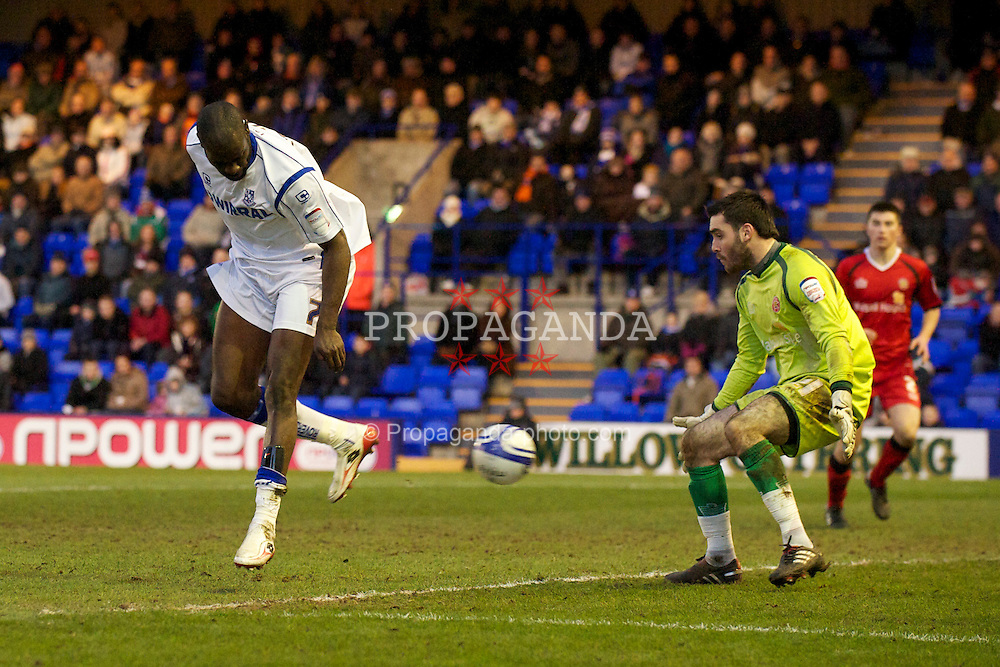 BIRKENHEAD, ENGLAND - Saturday, January 8, 2011: Tranmere Rovers' Enoch Showunmi sees his back-heel cleared off the line against Walsall during the Football League One match at Prenton Park. (Pic by: David Rawcliffe/Propaganda)