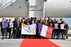 PARIS, Sept. 15, 2017  The delegation members pose for photos at the Charles de Gaulle Airport in Paris, France on Sept. 15, 2017. The delegation of the Paris 2024 returned to Paris on Friday. The International Olympic Committee (IOC) voted Wednesday in Lima for French capital Paris to host the 2024 Summer Olympic Games and Los Angeles of the United States the 2028 Games.   wll) (Credit Image: © Chen Yichen/Xinhua via ZUMA Wire)