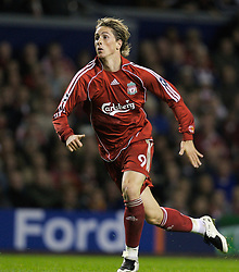 Liverpool, England - Wednesday, October 3, 2007: Liverpool's Fernando Torresin action against Olympique de Marseille during the UEFA Champions League Group A match at Anfield. (Photo by David Rawcliffe/Propaganda)