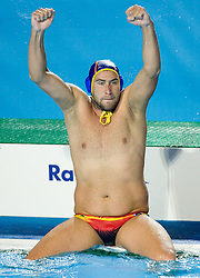 Spanish player Guillermo Molina (5) celebrates during the Men's  Waterpolo Final match between National teams of Serbia and Spain during the 13th FINA World Championships Roma 2009, on August 1, 2009, at the Stadio del Nuoto,  in Foro Italico, Rome, Italy. Serbia won after penalties shootout 14:13.  (Photo by Vid Ponikvar / Sportida)