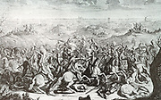 Illustration depicting Spanish troops in battle in the Netherlands 1600.