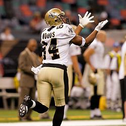2009 August 14: New Orleans Saints wide receiver D'Juan Woods (84) in warm ups prior to the start of a preseason opener between the Cincinnati Bengals and the New Orleans Saints at the Louisiana Superdome in New Orleans, Louisiana.