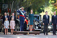 Princess Sofia, Princess Leonor, King Felipe VI of Spain and Queen Letizia of Spain attended the Military Parade during the Spanish National Day on October 12, 2014 in Madrid, Spain