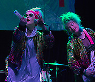 Emily Nokes, left, and Bree McKenna of Tacocat performing at the Constellation Room in Santa Ana, CA, April 19, 2017