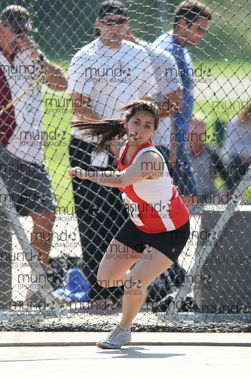 (London, Ontario---14/06/09)   Jade Rodriguez of Newfoundland & Labrador A.A. competes in the  discus throw at the 2009 Athletics Ontario Junior Track and Field Championships. The meet was held in London, Ontario from June 13-14, 2009. Copyright photograph Sean Burges / Mundo Sport Images, 2009. www.mundosportimages.com / www.msievents.