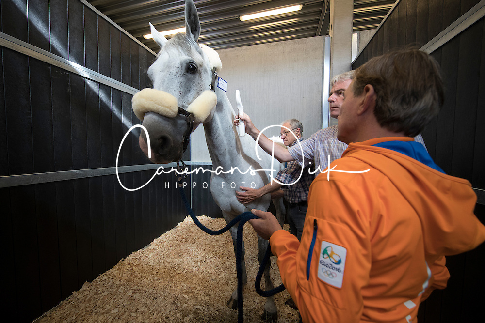 Team Netherlands<br /> Departure of the horses to the Rio Olympics from Liege Airport - Liege 2016<br /> © Hippo Foto - Dirk Caremans<br /> 30/07/16
