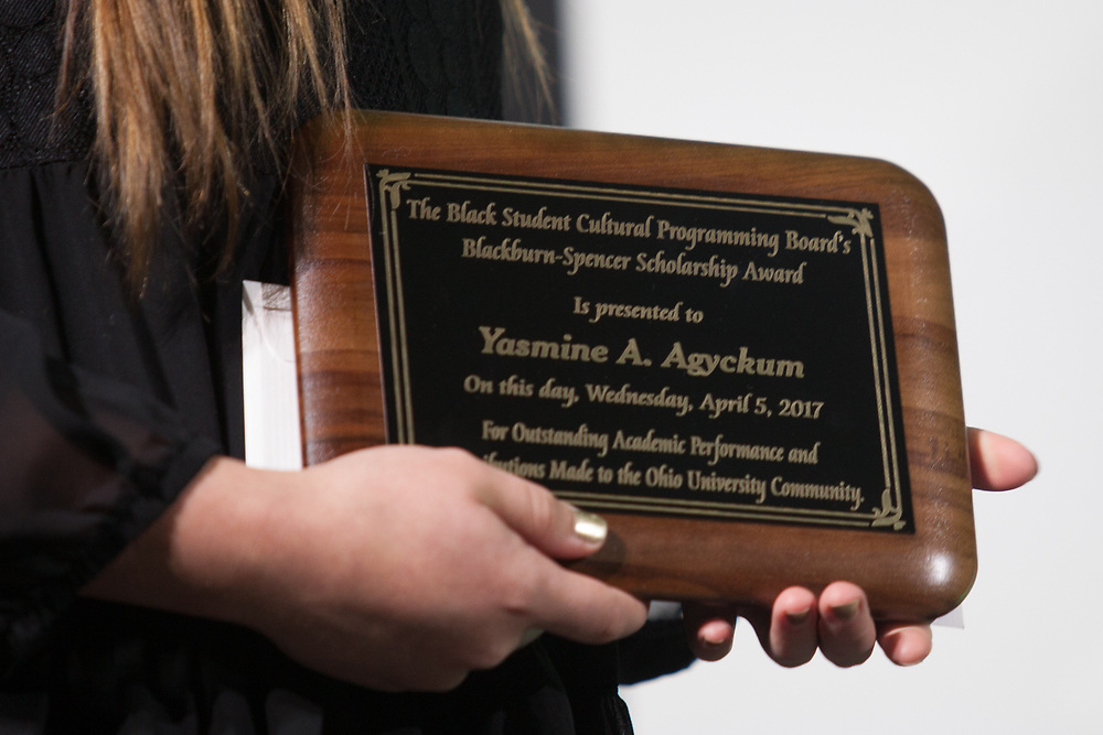 Yasmine Agyckum's Blackburn Spencer Scholarship Award plaque at the 34th Annual Leadership Awards Gala in Baker Ballroom on Wednesday, April 5, 2017. Photo by Kaitlin Owens