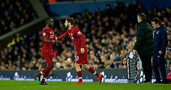 LIVERPOOL, ENGLAND - Sunday, March 3, 2019: Liverpool's Sadio Mane is replaced by substitute Adam Lallana during the FA Premier League match between Everton FC and Liverpool FC, the 233rd Merseyside Derby, at Goodison Park. (Pic by Laura Malkin/Propaganda)