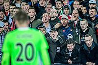 ROTTERDAM - Feyenoord - Ajax , Voetbal , KNVB Beker , Seizoen 2015/2016 , Stadion de Kuip , 25-10-2015 , Haat is van de feyenoord supporters af te lezen tegenover Ajax speler Lasse Schone (l)