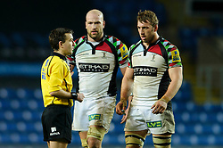 referee Llyr ApGeraint Roberts (RFU) talks to Harlequins Flanker (#7) Chris Robshaw (capt) and , Harlequins Lock (#5) George Robson before sending off the latter with a yellow card during the second half of the match - Photo mandatory by-line: Rogan Thomson/JMP - Tel: Mobile: 07966 386802 06/01/2013 - SPORT - RUGBY - Kassam Stadium - Oxford. London Welsh v Harlequins - Aviva Premiership.