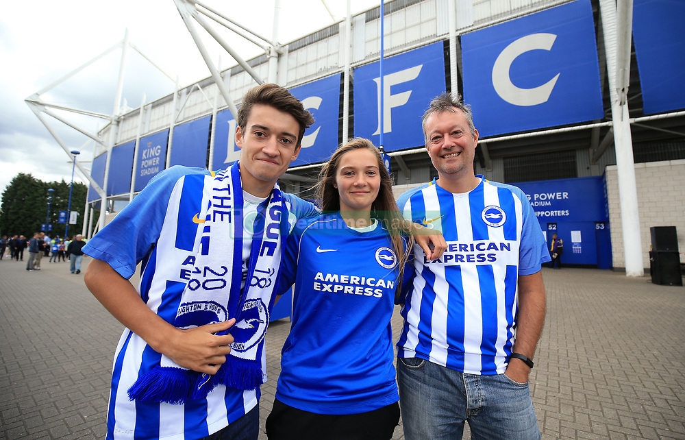 Brighton and Hove Albion fans before the Premier League match at the King Power Stadium, Leicester.