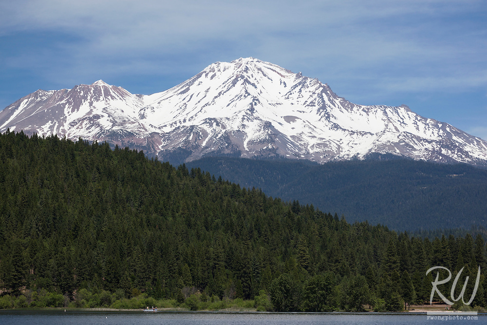 14,179 ft. Mount Shasta Rising Above Lake Siskiyou, California