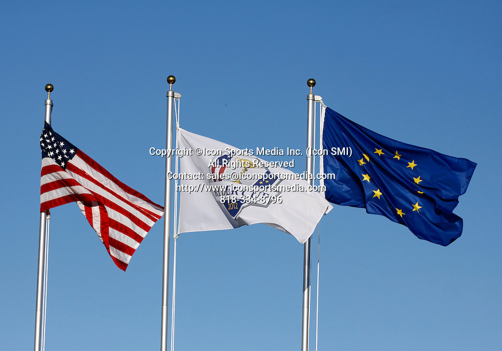 30 September, 2012: The flags for Team USA and Team Europe wave in the evening breeze after day three of Ryder Cup action at Medinah Country Club, in Medinah, IL.