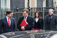 Left to right: Wales Secretary Stephen Crabb, Chief Secretary to the Treasury Greg Hands, Employment Minister Priti Patel and Scotland Secretary David Mundell   leave the Cabinet meeting at Downing Street, London.<br /> Picture by Paul Davey/Focus Images Ltd +447966 016296<br /> 16/03/2016