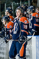 KELOWNA, CANADA, JANUARY 25: Brendan Ranford #19 of the Kamloops Blazers stands on the ice as the Kamloops Blazers visit the Kelowna Rockets on January 25, 2012 at Prospera Place in Kelowna, British Columbia, Canada (Photo by Marissa Baecker/Getty Images) *** Local Caption ***