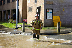 © Licensed to London News Pictures. 08/10/2019. London, UK. A fireman walks through the flood caused by a burst water main on Brownswood Road in Finsbury Park, north London. Emergency services and Thames Water are at the scene.  Photo credit: Dinendra Haria/LNP