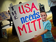 28 FEBRUARY 2012 - PHOENIX, AZ:     Mitt Romney supporters wait for election results from the Arizona and Michigan primaries. Several hundred Romney supporters crowded into a ballroom in a Phoenix hotel to watch primary results from Michigan and Arizona. Romney won the night, scoring a tight win in the Michigan Republican Presidential primary and a comfortable win in the Arizona Republican Presidential primary. PHOTO BY JACK KURTZ