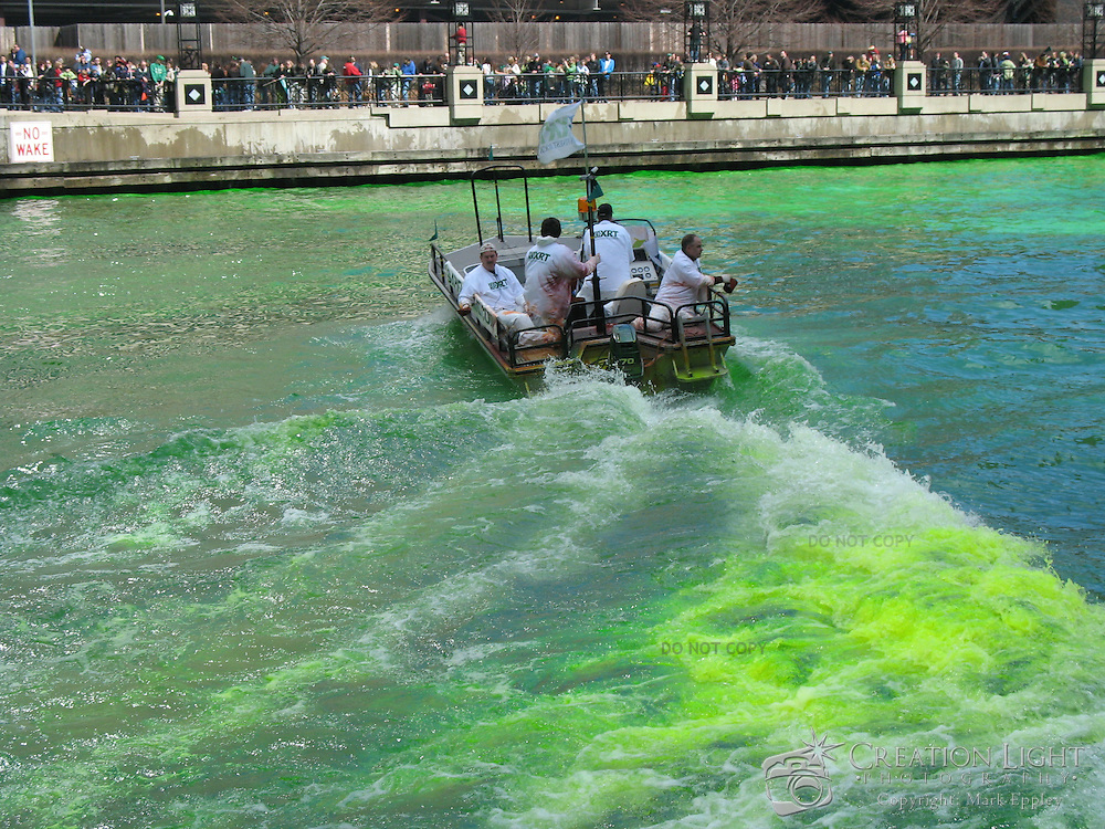 Each year the Chicago River is dyed green in celebration of St. Patrick's Day