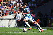 Manchester City Midfielder Riyad Mahrez (26) taking on Chelsea defender Marcos Alonso (3) during the FA Community Shield match between Chelsea and Manchester City at Wembley Stadium, London, England on 5 August 2018.