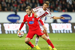 24.09.2014, Voith Arena, Heidenheim, GER, 2. FBL, 1. FC Heidenheim vs 1. FC Nuernberg, 7. Runde, im Bild Robert Leipertz ( 1.FC Heidenheim ) rechts Niklas Stark ( 1.FC Nuernberg ) // during the 2nd German Bundesliga 7th round match between 1. FC Heidenheim and 1. FC Nuernberg at the Voith Arena in Heidenheim, Germany on 2014/09/24. EXPA Pictures © 2014, PhotoCredit: EXPA/ Eibner-Pressefoto/ Langer<br /> <br /> *****ATTENTION - OUT of GER*****