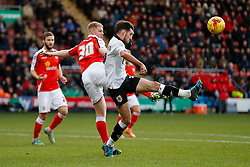 Greg Cunningham of Bristol City is challenged by Alan Tate of Crewe Alexandra - Photo mandatory by-line: Rogan Thomson/JMP - 07966 386802 - 20/12/2014 - SPORT - FOOTBALL - Crewe, England - Alexandra Stadium - Crewe Alexandra v Bristol City - Sky Bet League 1.