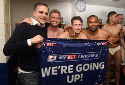 Bristol rovers players celebrate promotion from Sky Bet League 2 up to Sky Bet League 1 with Club President Wael al Qadi  - Mandatory by-line: Joe Meredith/JMP - 07/05/2016 - FOOTBALL - Memorial Stadium - Bristol, England - Bristol Rovers v Dagenham and Redbridge - Sky Bet League Two
