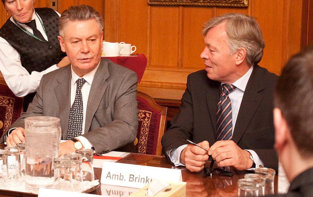 Karel De Gucht, European Commissioner for Trade, left, and European Commission Ambassador Matthias Brinkmann prepare for a meeting with Canada's Minister of International Trade Peter Van Loan on Parliament Hill in Ottawa, Canada December 15, 2010.<br /> AFP/GEOFF ROBINS/STR