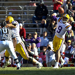 November 6, 2010; Baton Rouge, LA, USA;  LSU Tigers quarterback Jordan Jefferson (9) throws a pass against the Alabama Crimson Tide during the first half at Tiger Stadium. LSU defeated Alabama 24-21.  Mandatory Credit: Derick E. Hingle